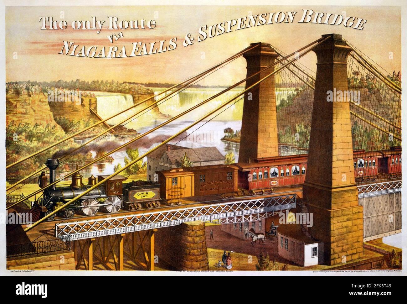 Affiche d'époque pour le train au-dessus des chutes du Niagara Pont de suspension Banque D'Images