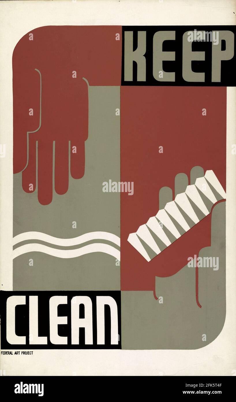 Affiche vintage pour la propreté avec le slogan Keep Clean Banque D'Images