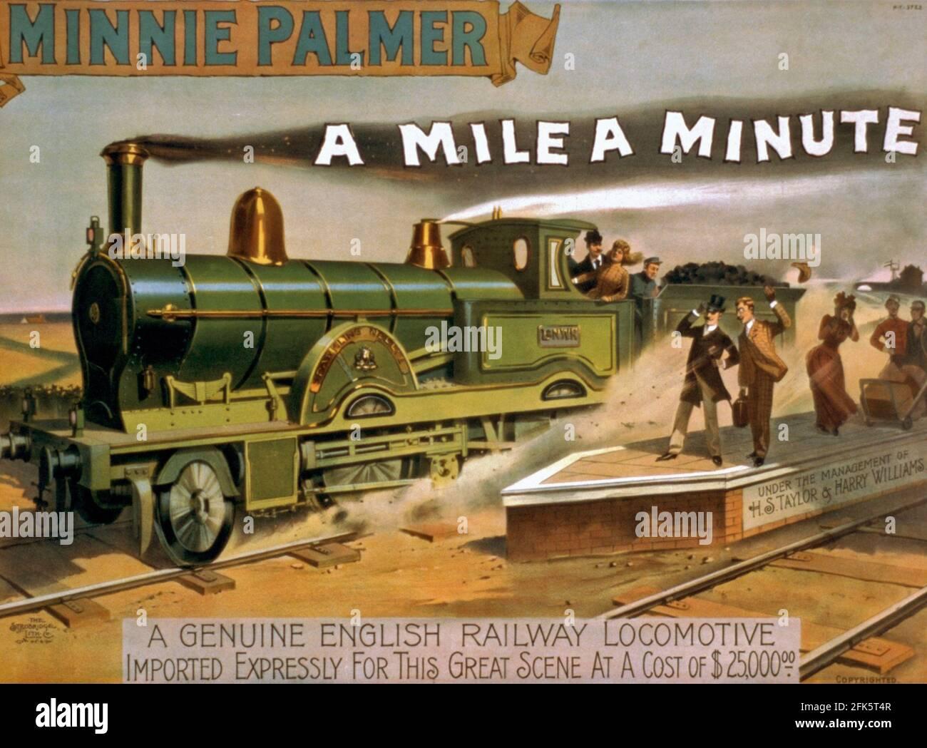 Une affiche vintage pour une locomotive anglaise Minnie Palmer qui Peut courir à un mile PAR minute Banque D'Images