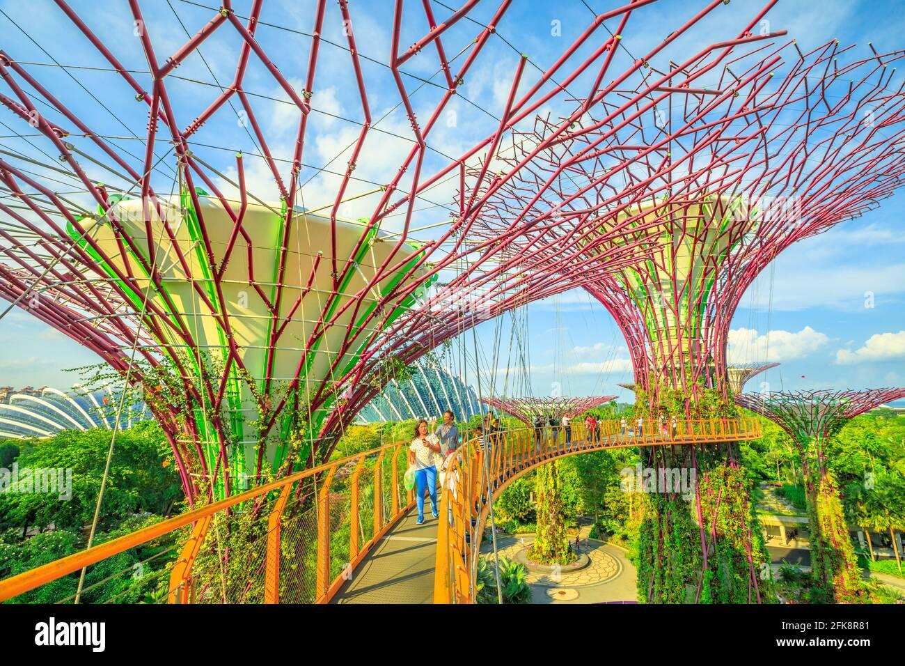 Singapour - le 29 avril 2018: tourisme asiatique selfies prend avec smart phone en marchant sur une passerelle ou d'OCBC Skyway de Supertree Grove dans des jardins par le Banque D'Images