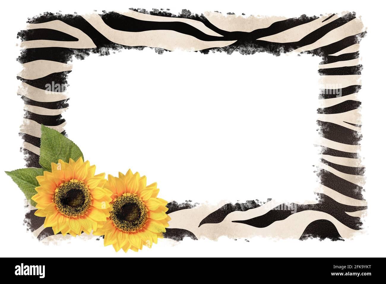Cadre à motif tournesol et imprimé peau d'animal. Collage créatif Banque D'Images