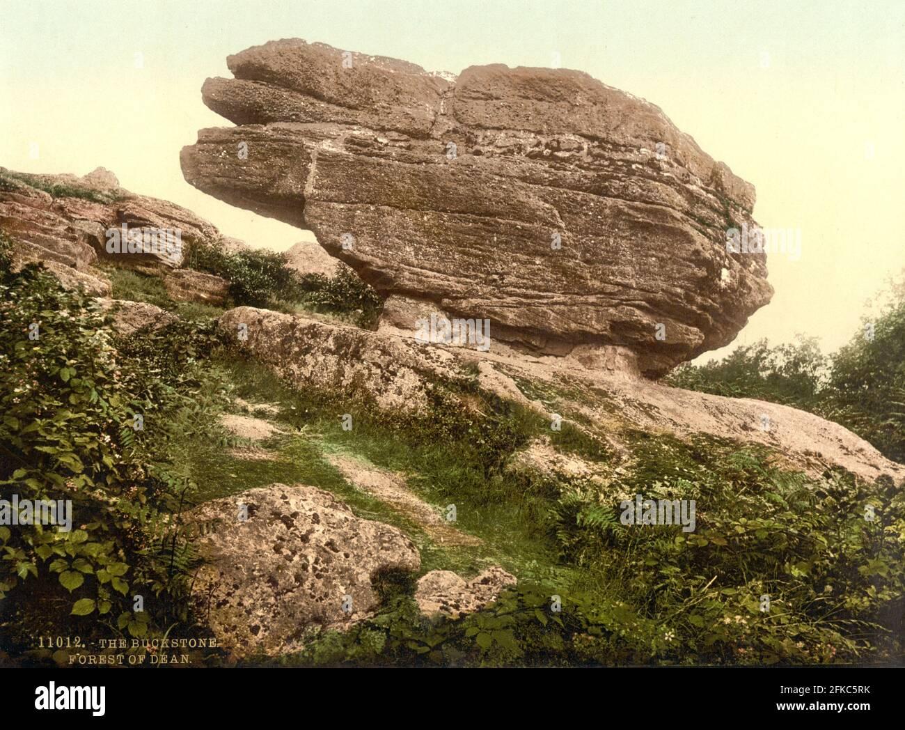 Le Buckstone dans la forêt de Dean dans Gloucestershire vers 1890-1900 Banque D'Images