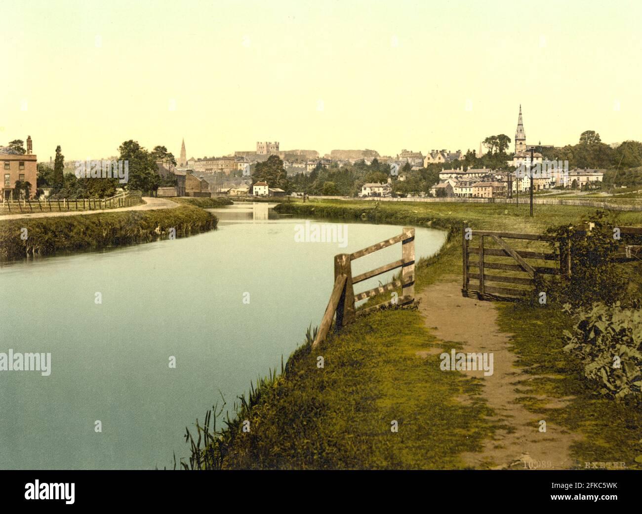 Exeter et le River exe dans Devon vers 1890-1900 Banque D'Images