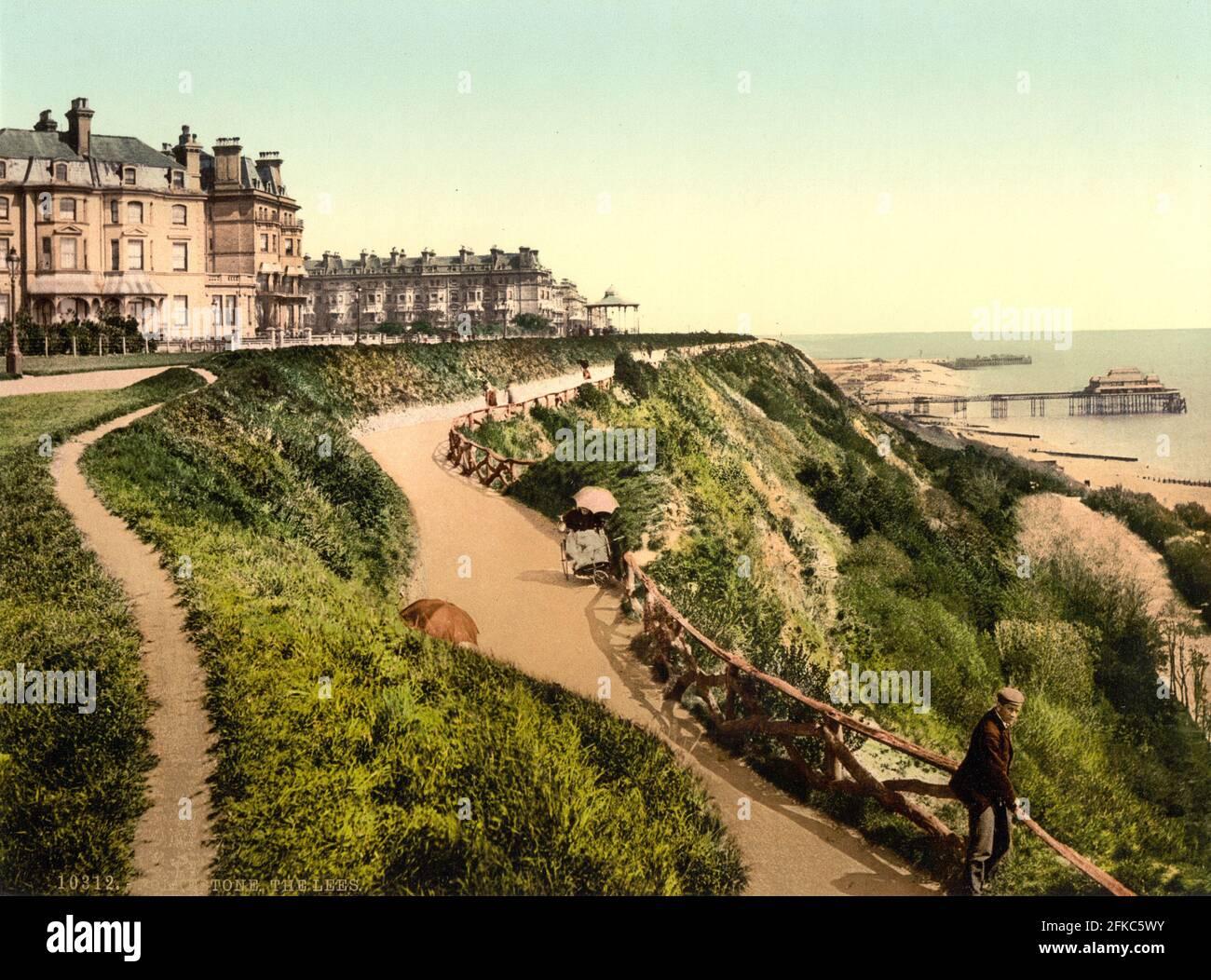 Les Lees (maintenant les Leas) avec le Metropole Hotel Folkestone, Kent vers 1890-1900 Banque D'Images