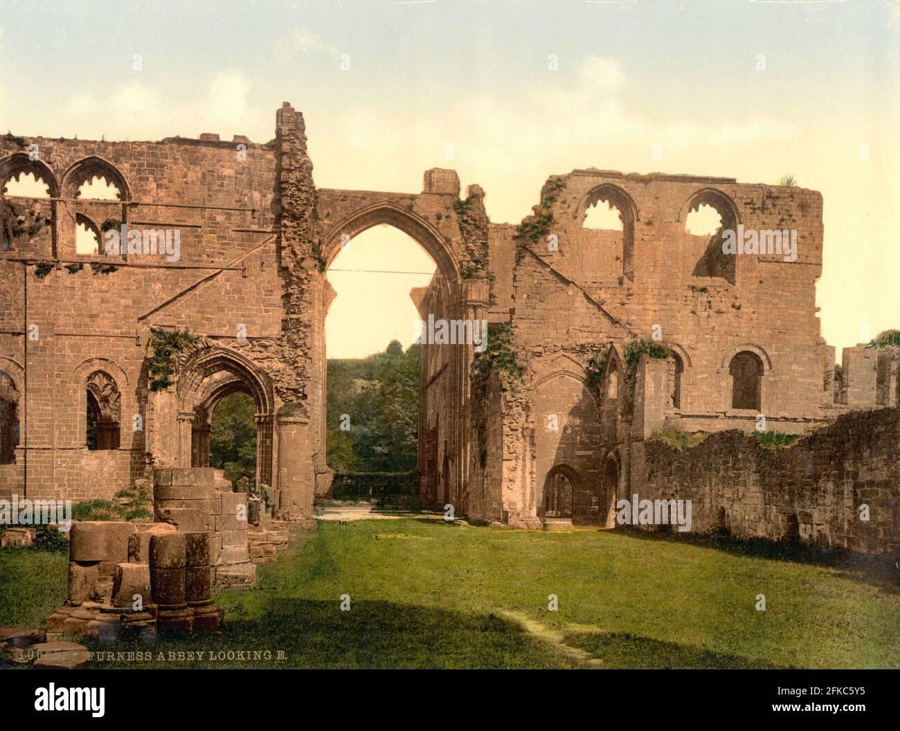 Abbaye de Furness, Barrow-in-Furness, Cumbria vers 1890-1900 Banque D'Images