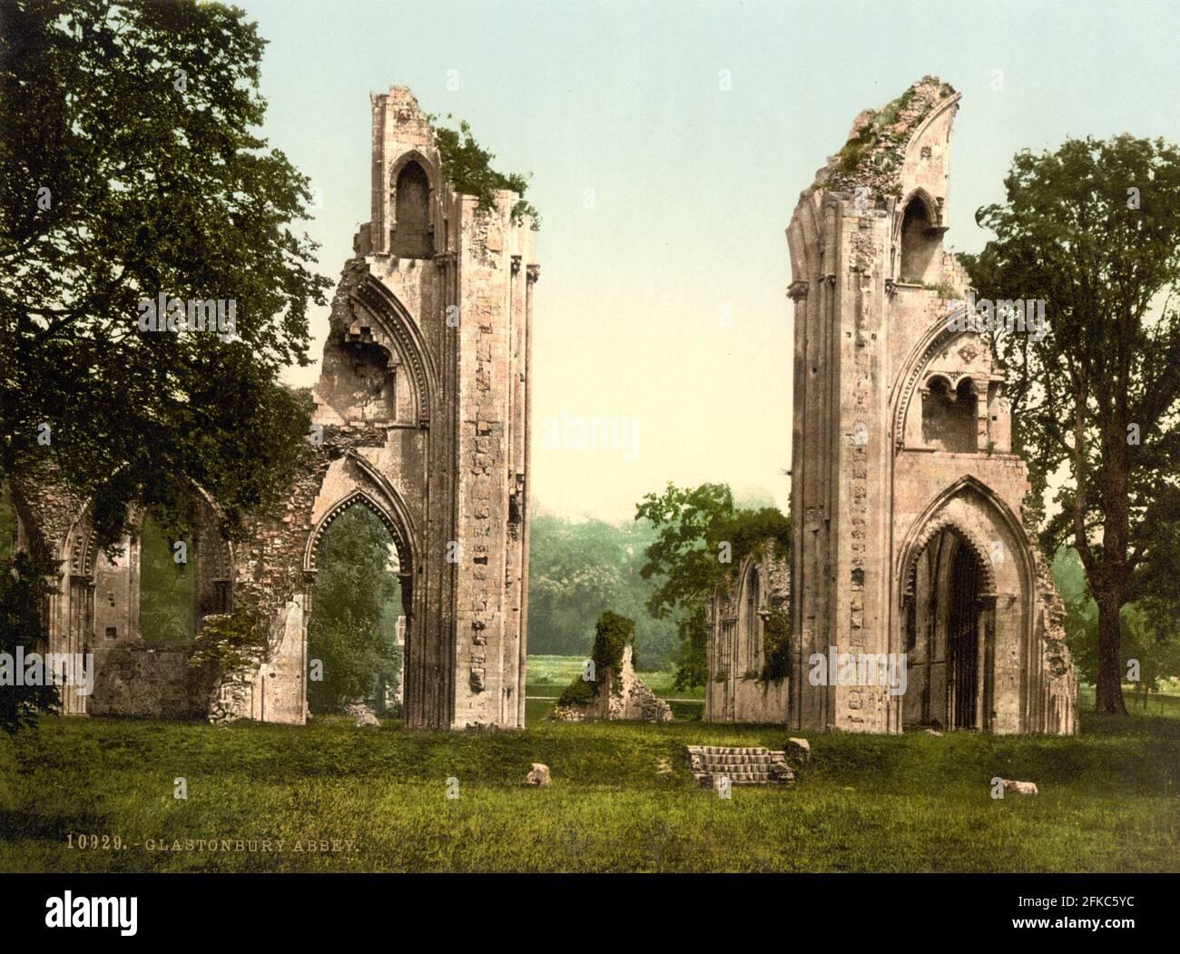 Abbaye de Glastonbury, Somerset vers 1890-1900 Banque D'Images