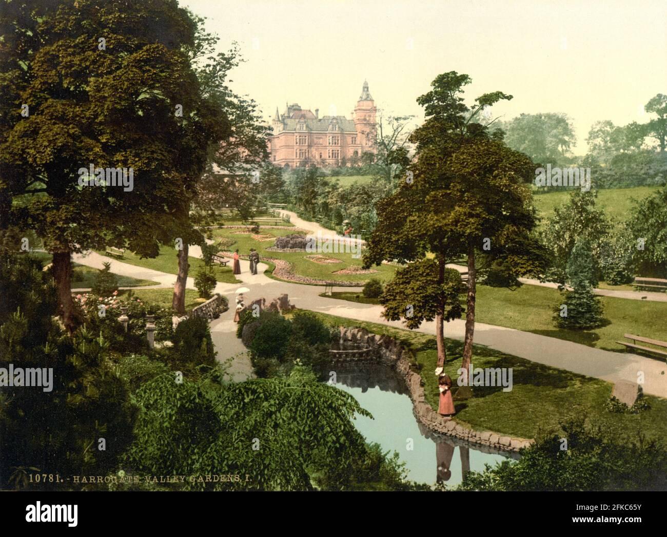 Valley Gardens, Harrogate dans le Yorkshire vers 1890-1900 Banque D'Images