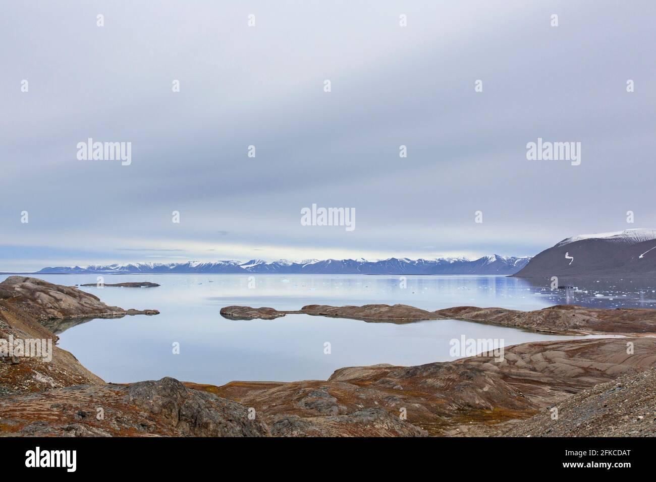 Vue sur Hornbaekpollen / Hornbækpollen, petite baie à Liefdefjorden, à l'est d'Erikbreen, Haakon VII Land en été, Spitsbergen, Svalbard, Norvège Banque D'Images