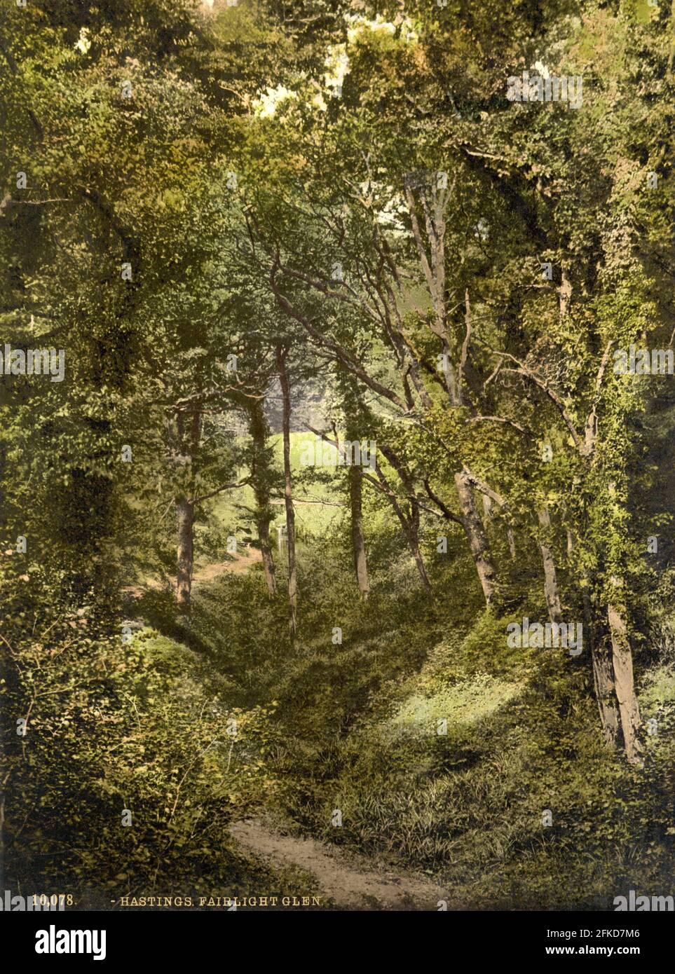 Fairlight Glen, Hastings, Sussex vers 1890-1900 Banque D'Images