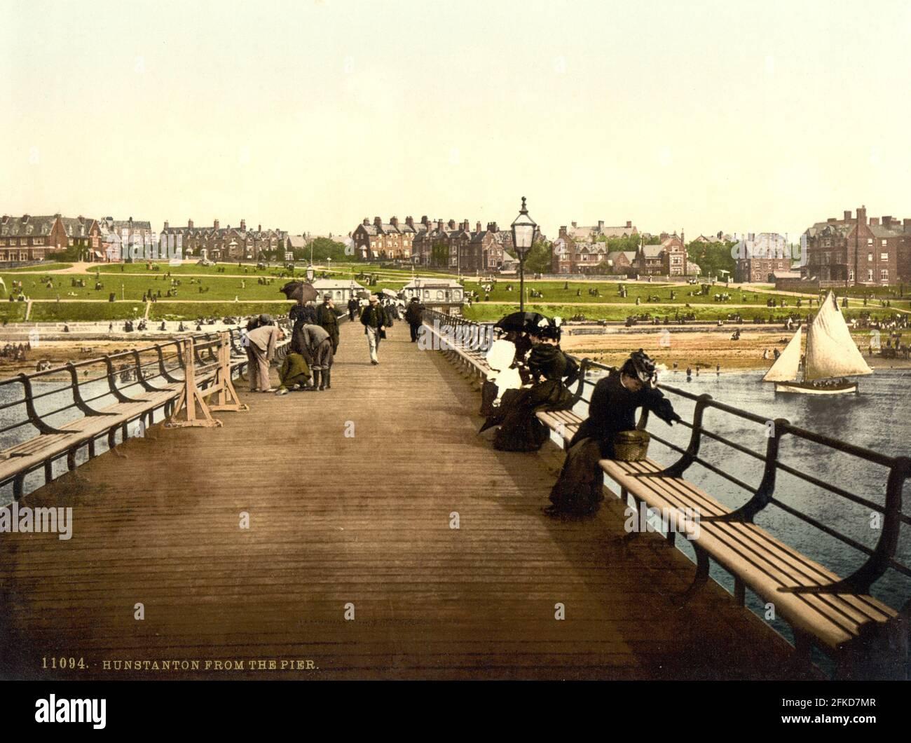 Hunstanton Pier, Norfolk vers 1890-1900 Banque D'Images