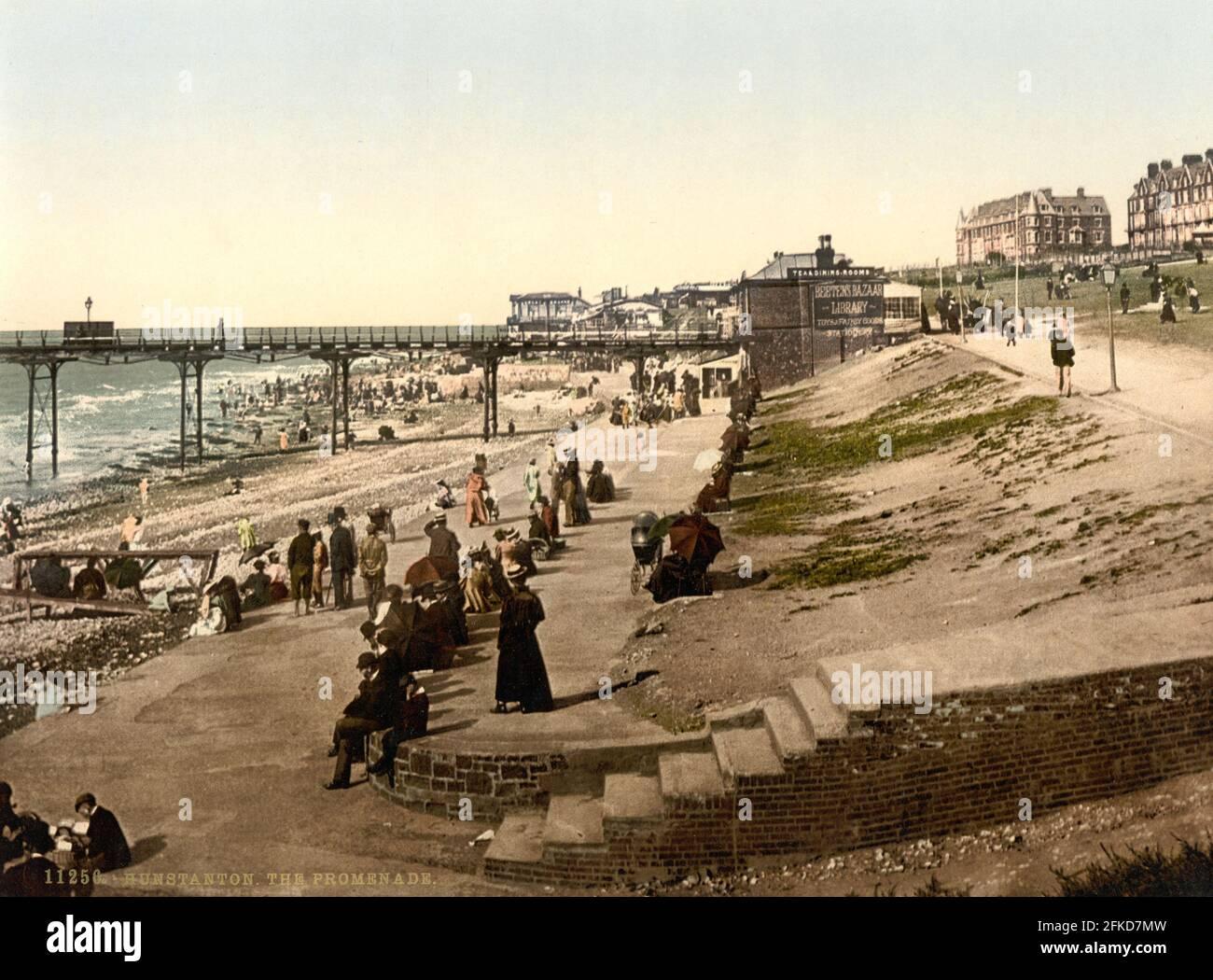 Plage et jetée de Hunstanton, Norfolk vers 1890-1900 Banque D'Images