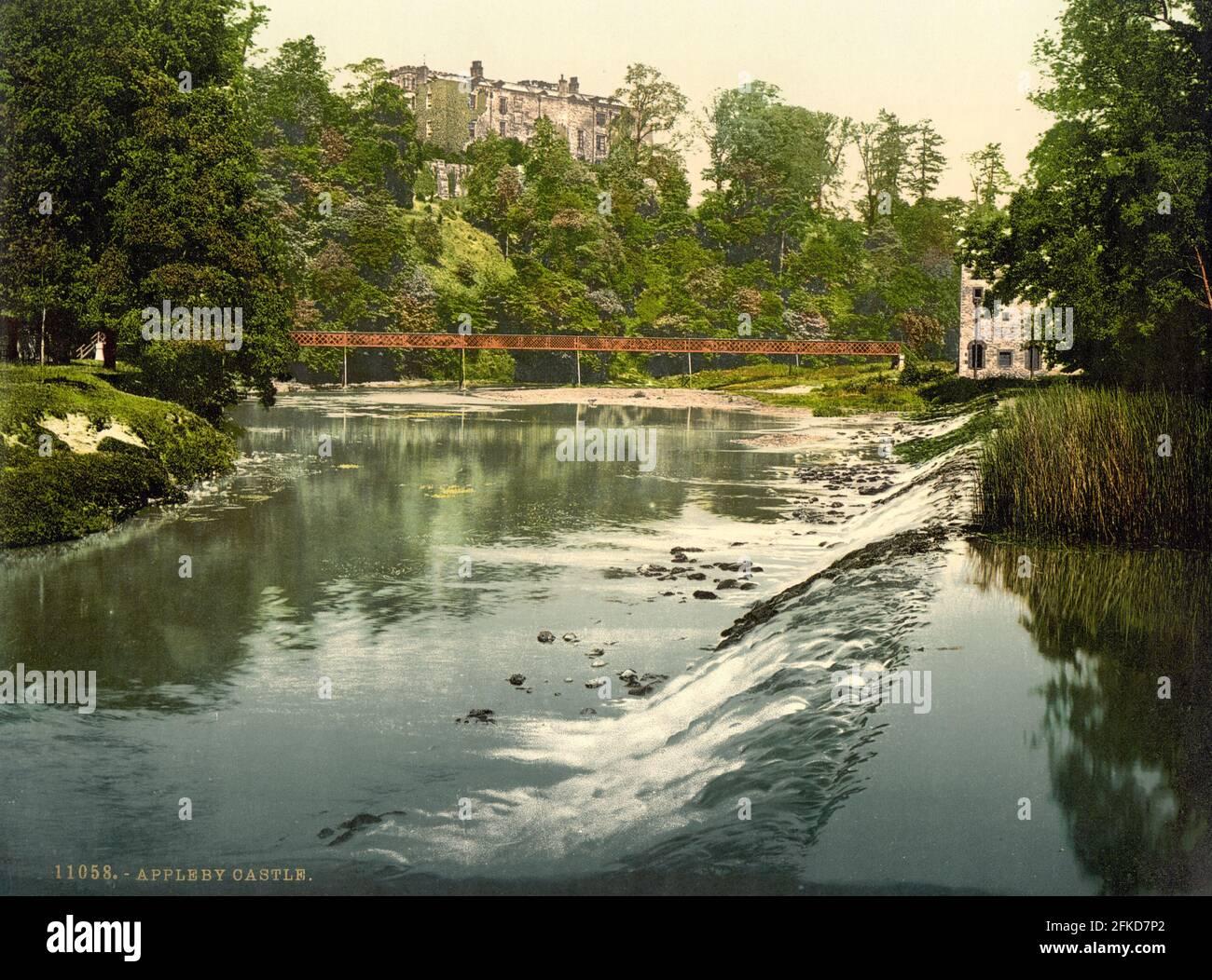 Le château d'Appleby et la rivière Eden dans le Lake District, Cumbria vers 1890-1900 Banque D'Images