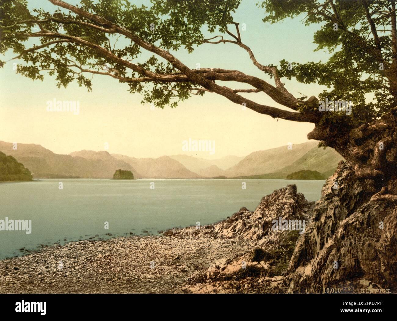 Derwent Water dans le Lake District, Cumbria vers 1890-1900 Banque D'Images