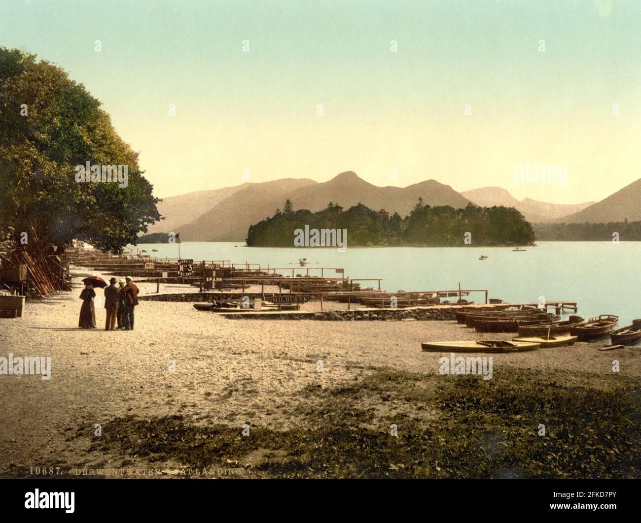 Derwent Water Shore dans le Lake District, Cumbria vers 1890-1900 Banque D'Images