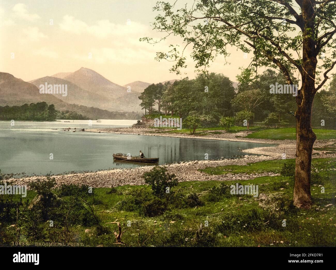 Derwent Water à partir de Broomhill point dans le Lake District, Cumbria vers 1890-1900 Banque D'Images