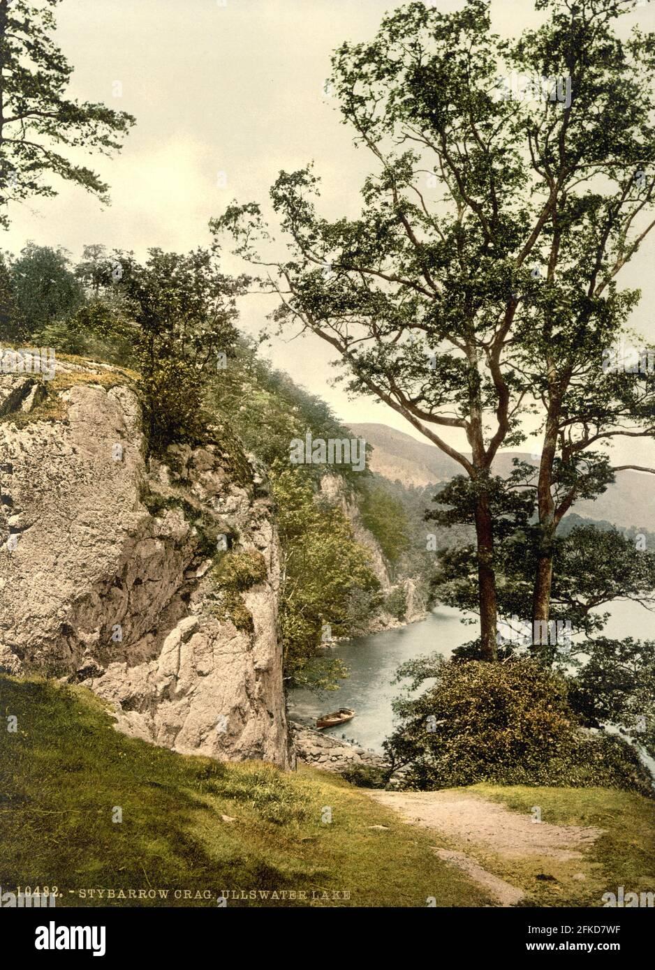 Stybarrow Crag sur Ullswater dans le Lake District, Cumbria vers 1890-1900 Banque D'Images