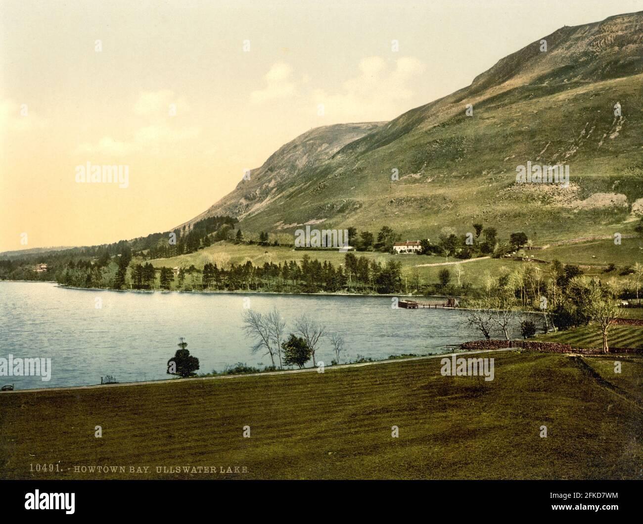 Howtown Bay sur Ullswater dans le Lake District, Cumbria vers 1890-1900 Banque D'Images