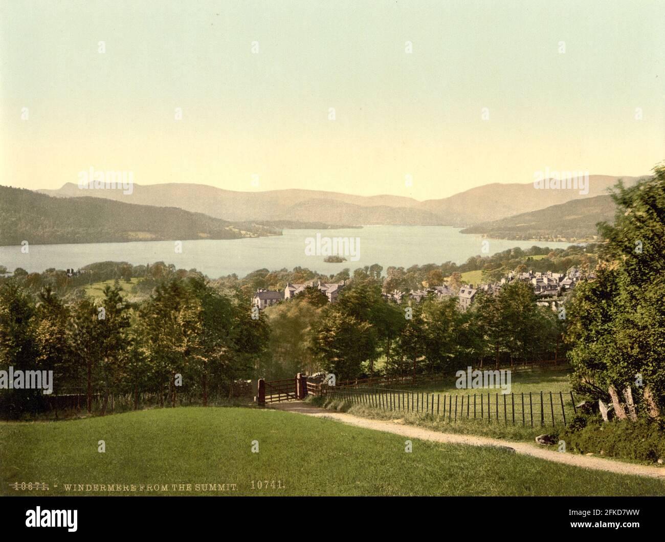 Windermere dans le Lake District, Cumbria vers 1890-1900 Banque D'Images