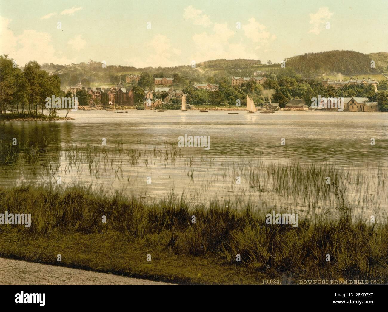 Bowness de Belle Isle dans le Lake District, Cumbria vers 1890-1900 Banque D'Images