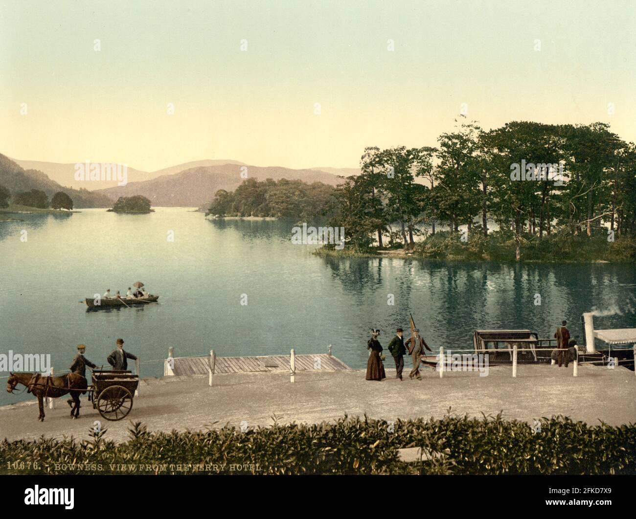 Bowness de l'hôtel Ferry dans le Lake District, Cumbria vers 1890-1900 Banque D'Images