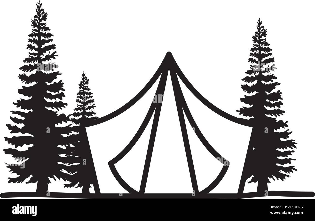 belle silhouette de tente Illustration de Vecteur
