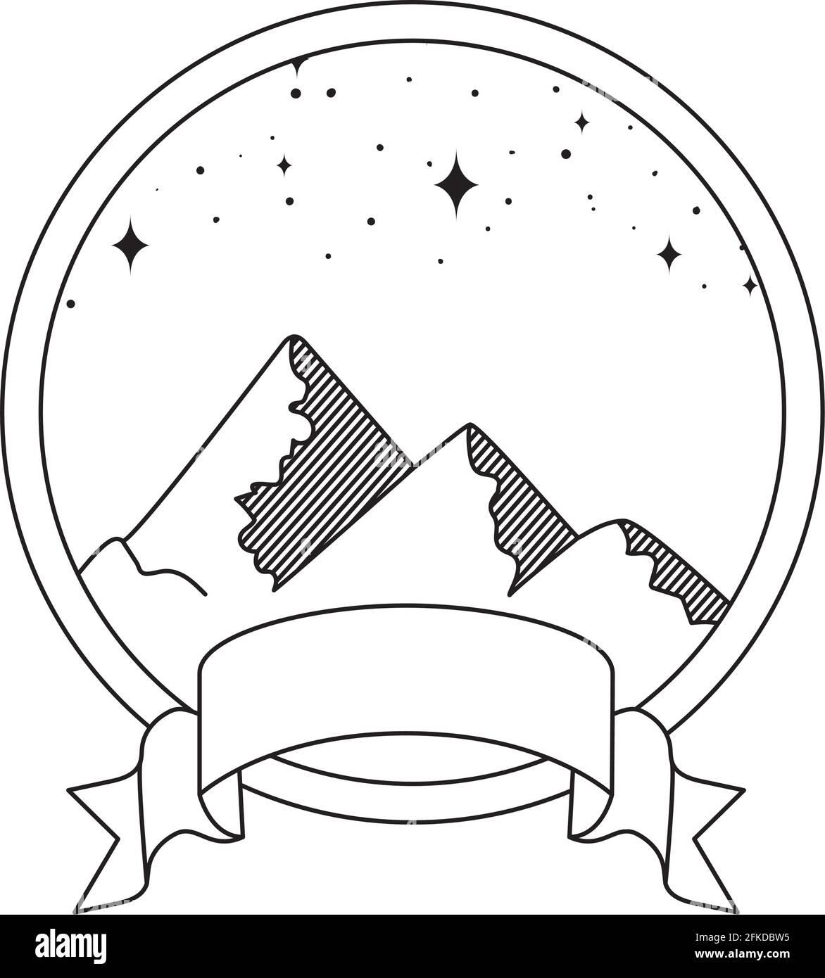 adorable emblème de montagnes Illustration de Vecteur