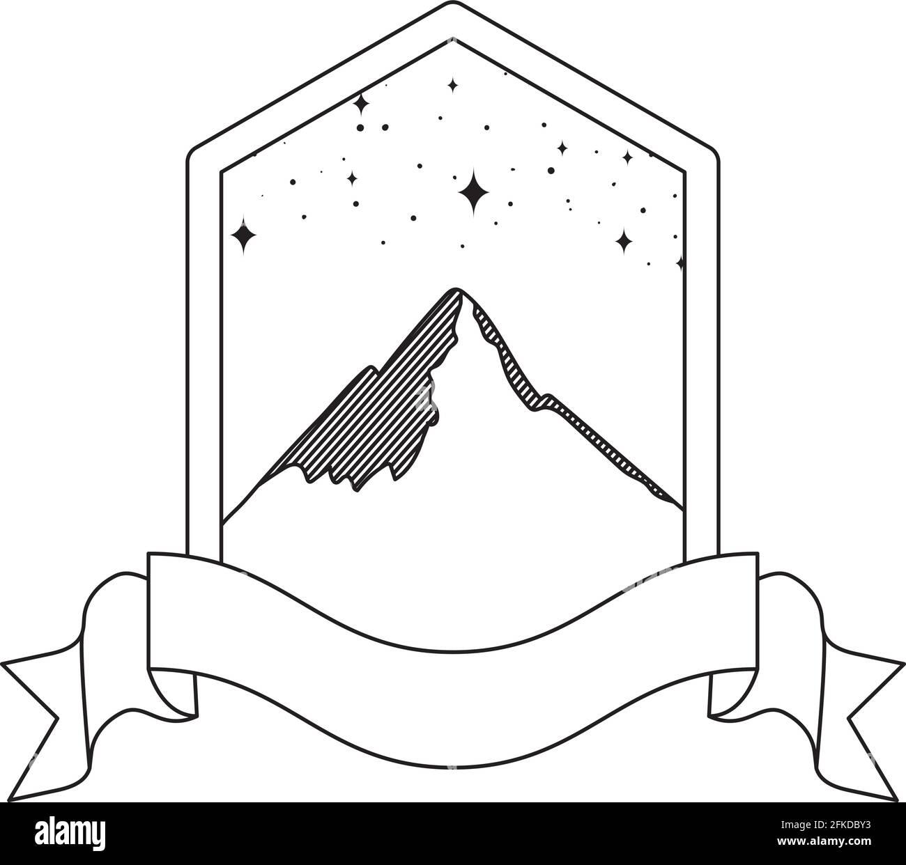 belle emblème de montagne Illustration de Vecteur