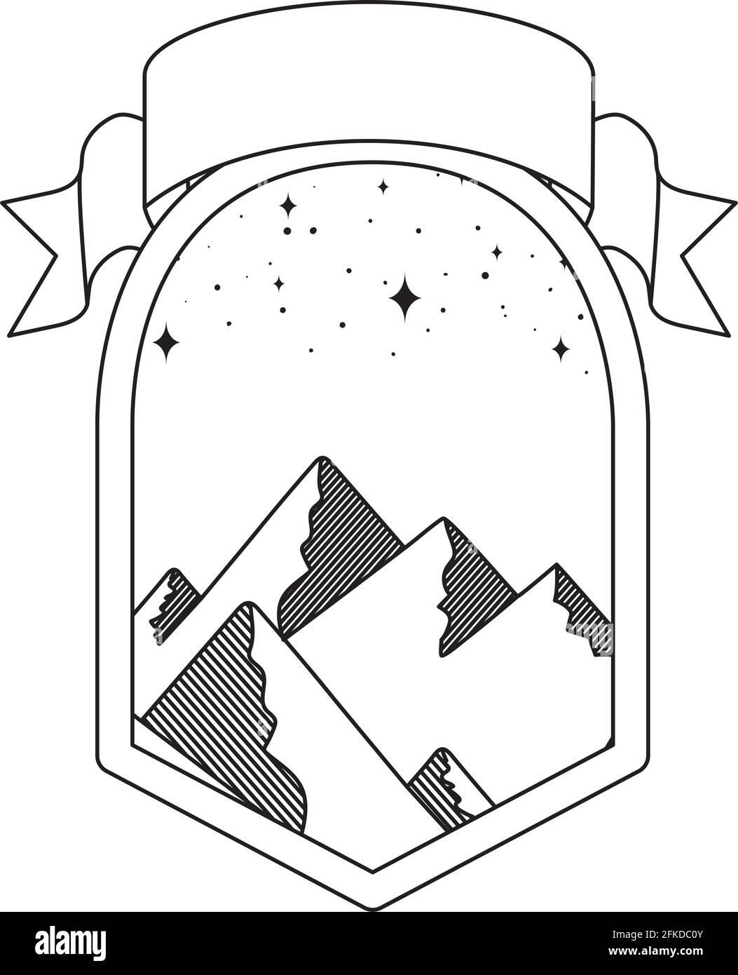 joli badge montagnes Illustration de Vecteur