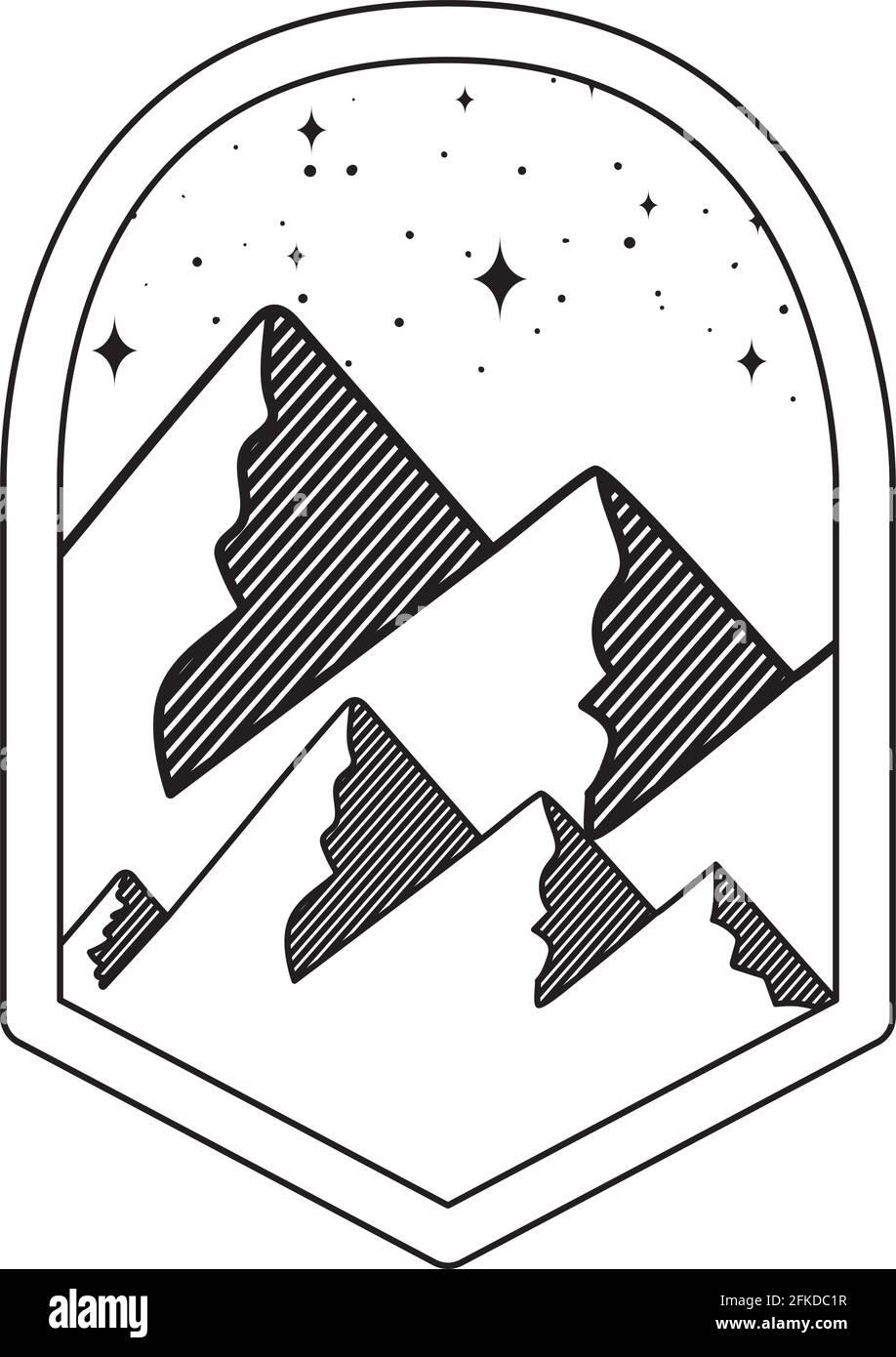 montagnes silhouettes insignia Illustration de Vecteur