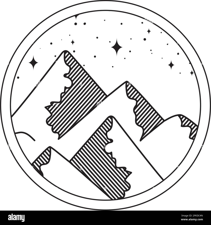 écusson montagnes silhouettes Illustration de Vecteur