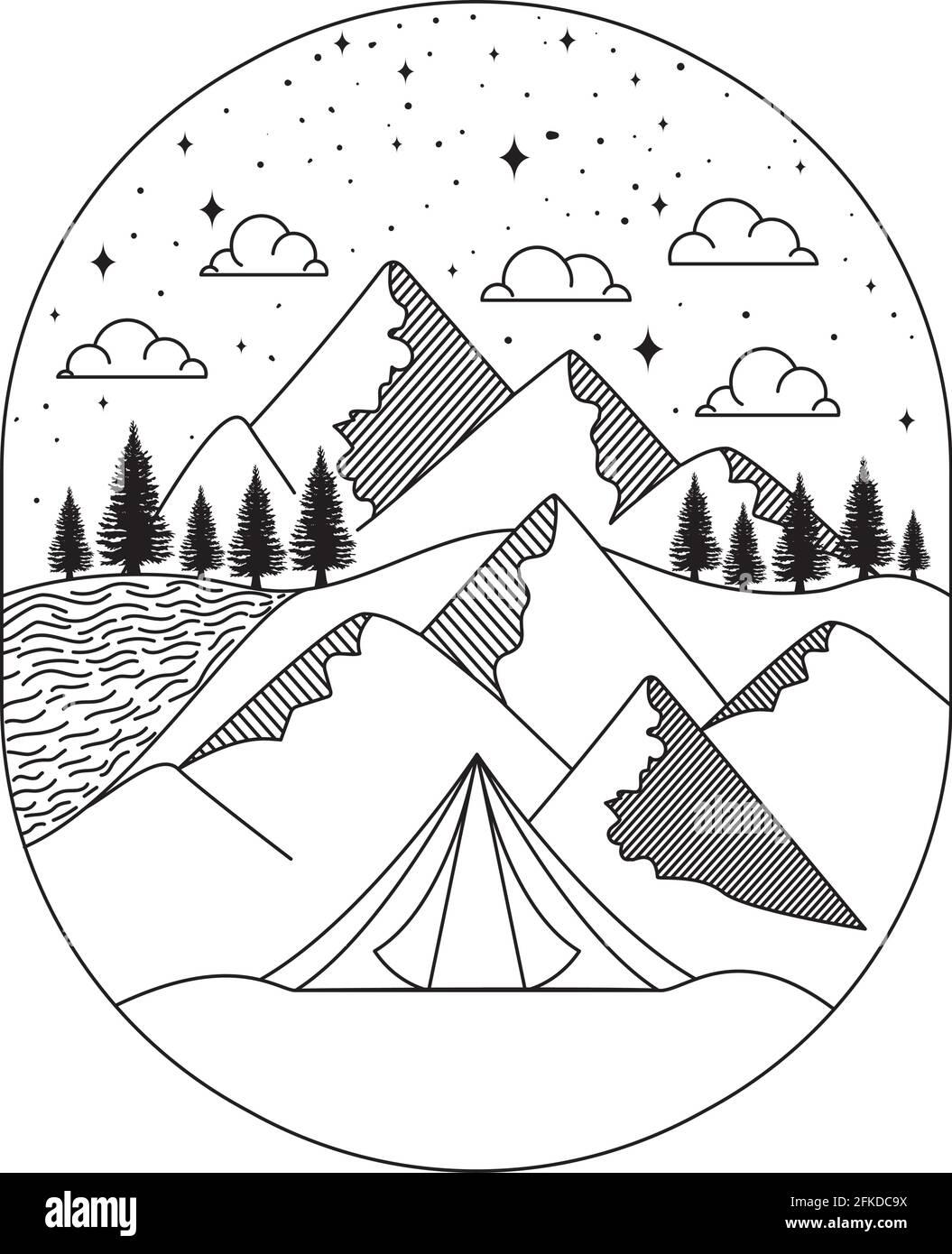 un joli paysage insignia Illustration de Vecteur