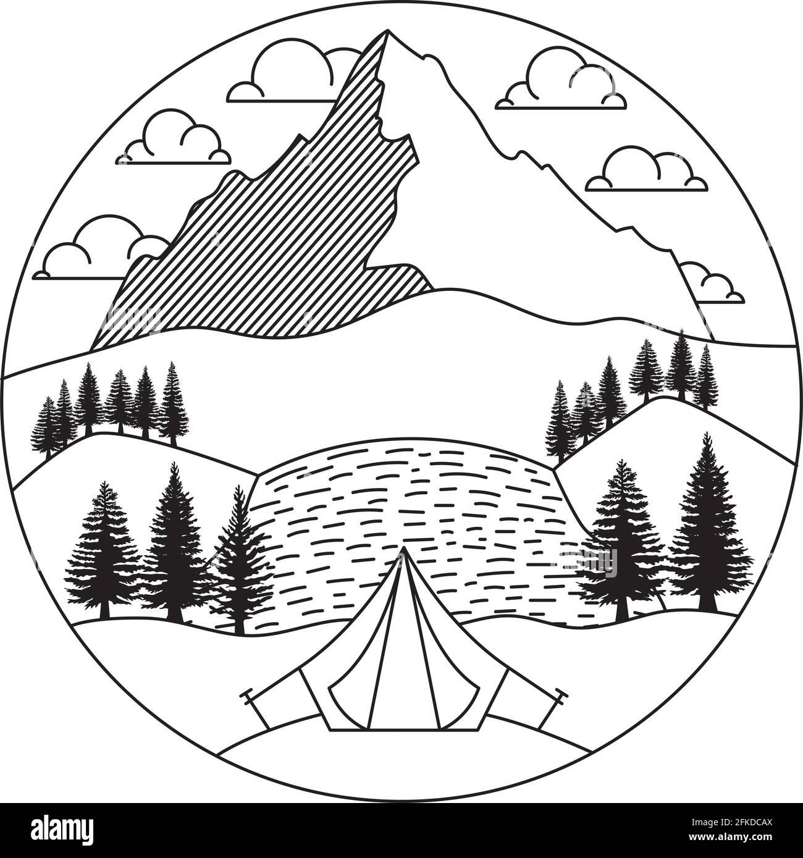 joli badge paysage Illustration de Vecteur
