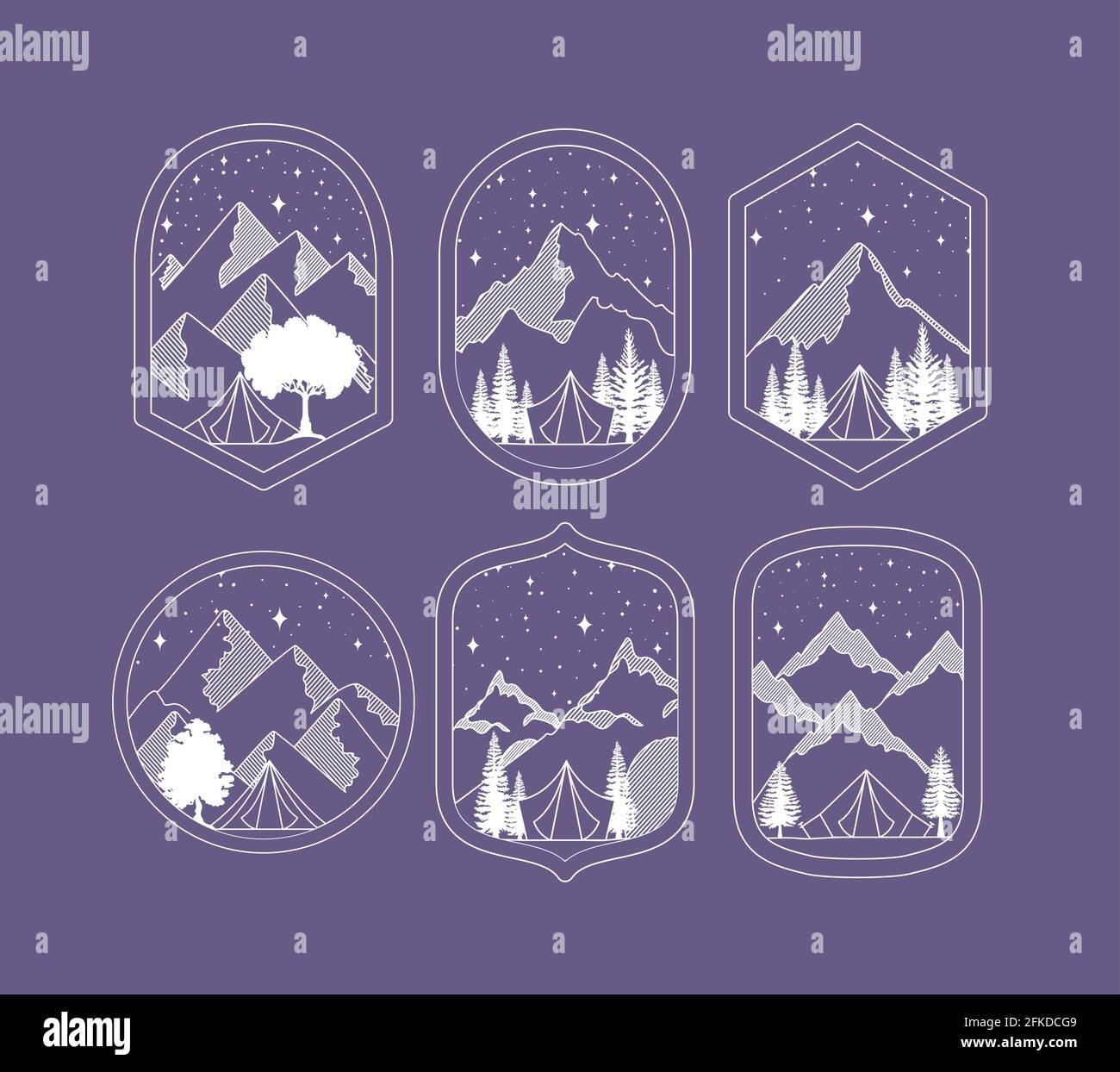 ensemble d'emblèmes de voyage Illustration de Vecteur