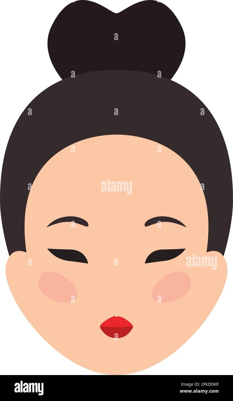 joli visage chinois Illustration de Vecteur