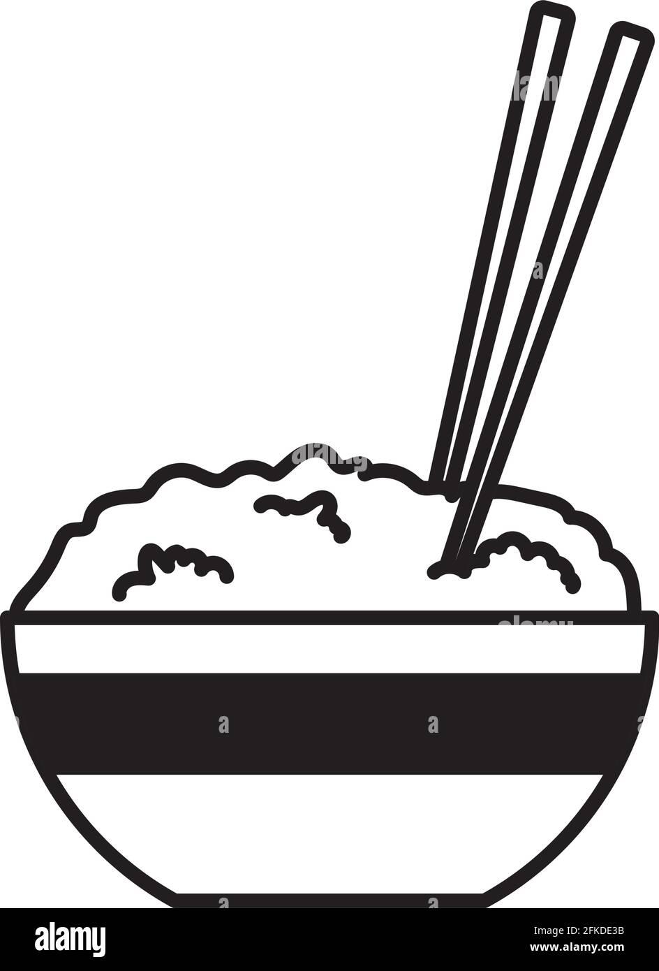 riz sur bol Illustration de Vecteur