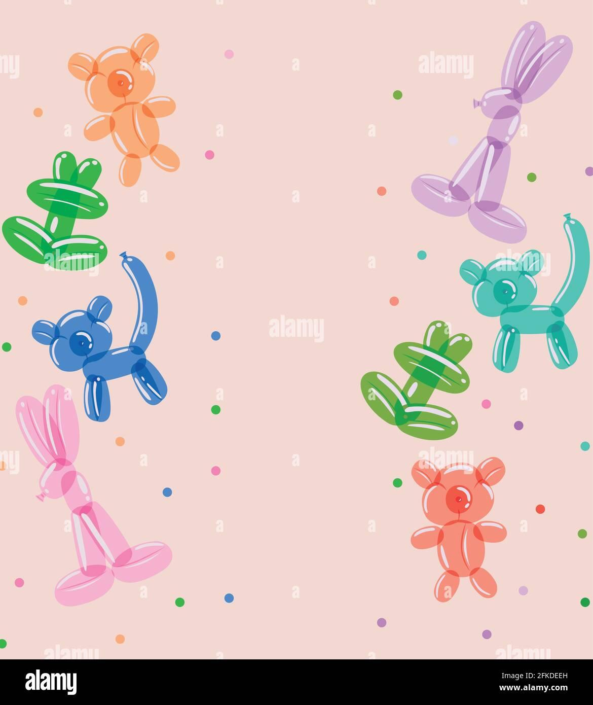 adorables ballons animaux Illustration de Vecteur