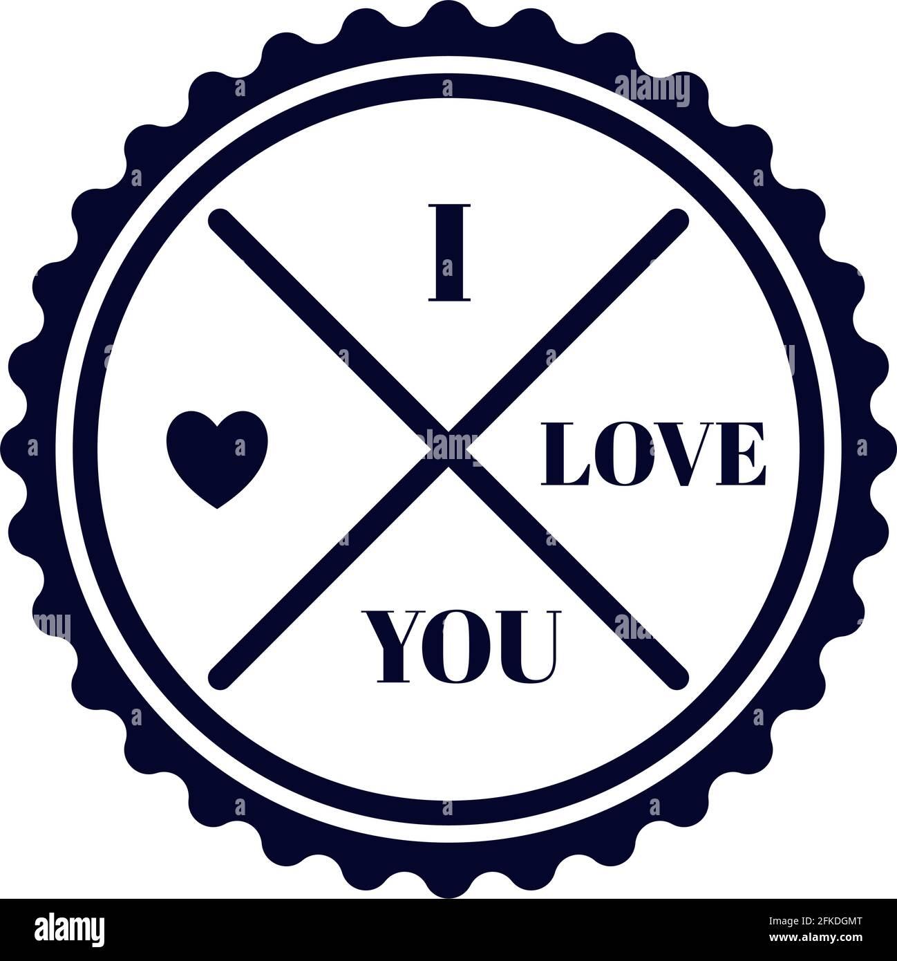 icône de tampon d'amour Illustration de Vecteur