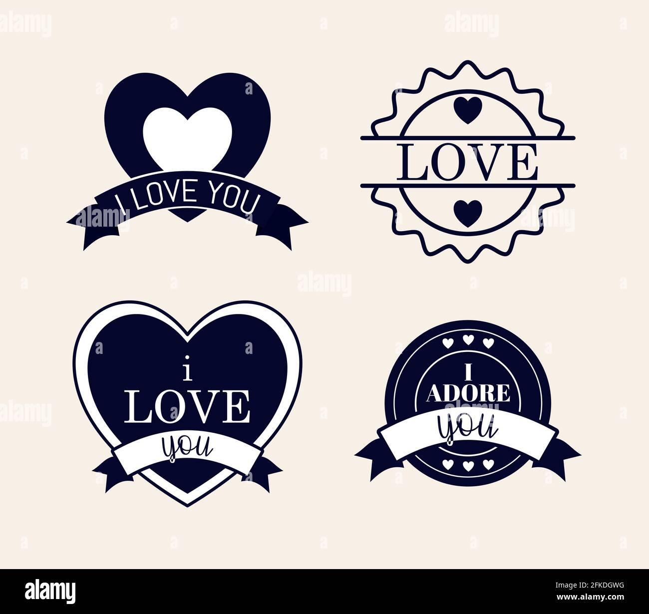 quatre timbres d'amour Illustration de Vecteur