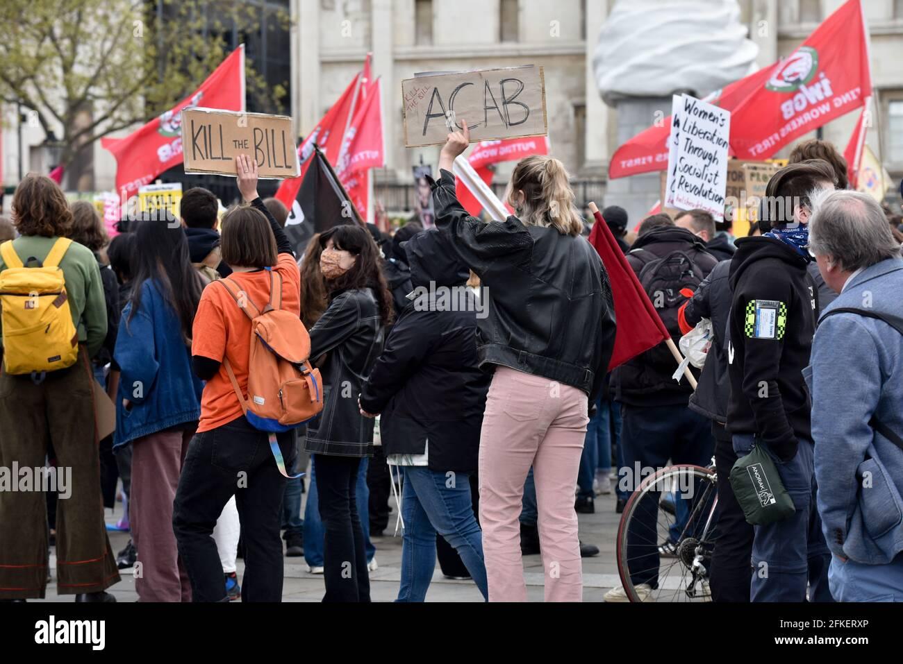Trafalgar Square, Londres, Royaume-Uni. 1er mai 2021. Tuez les manifestants de Bill à Trafalgar Square. Crédit : Matthew Chattle/Alay Live News Banque D'Images