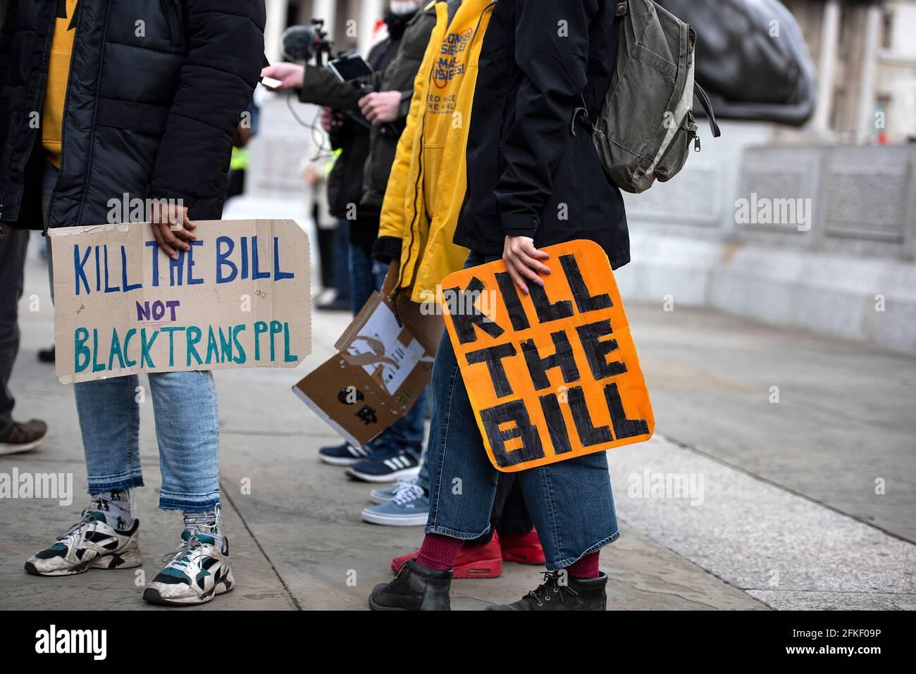 Londres, Royaume-Uni -1er mai 2021: 'Kill the Bill' protestation contre la police, le crime, la peine et les tribunaux projet de loi 2021 crédit: Loredana Sangiuliano / Alay Live News Banque D'Images