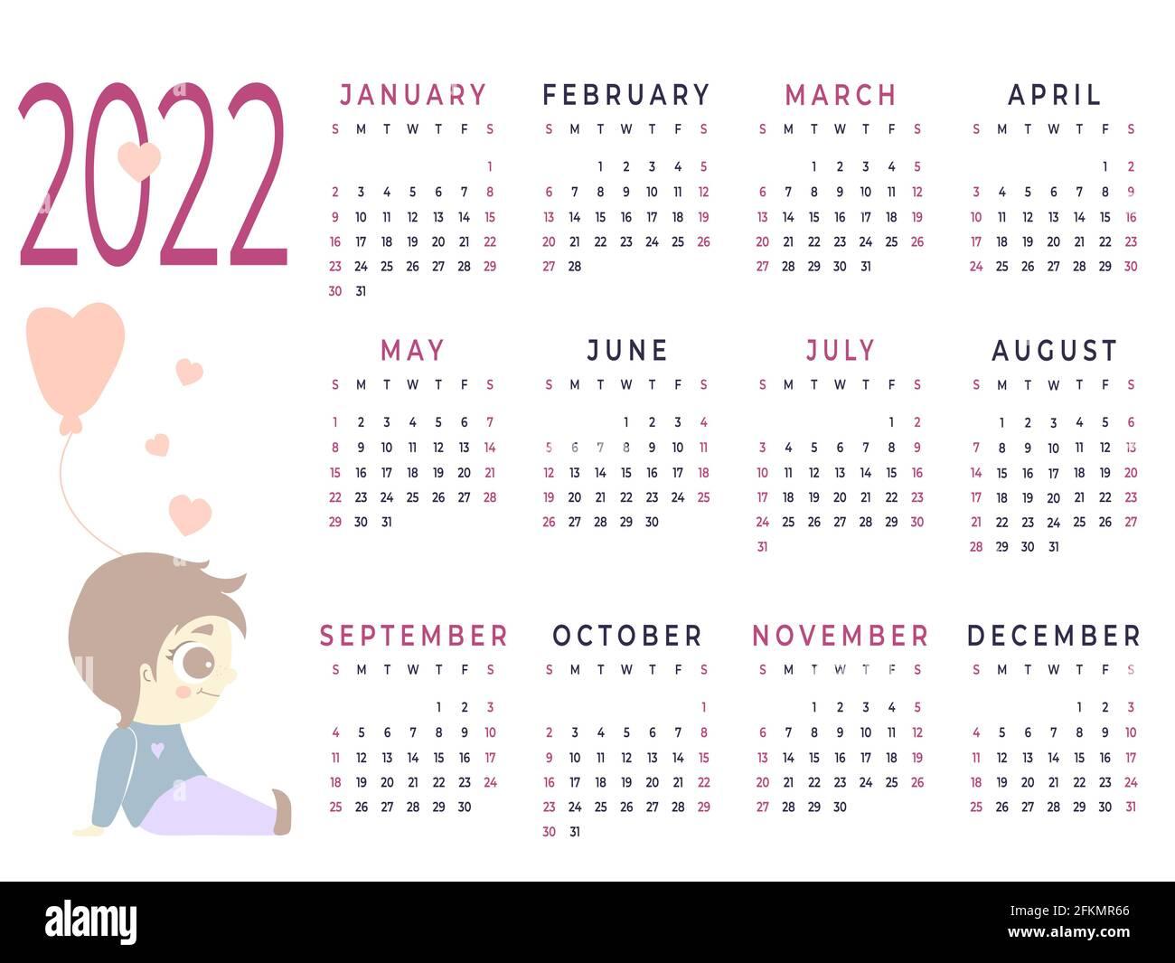 Calendrier 2022 Joli Calendrier 2022. Modèle horizontal pour une année   12 mois. Joli