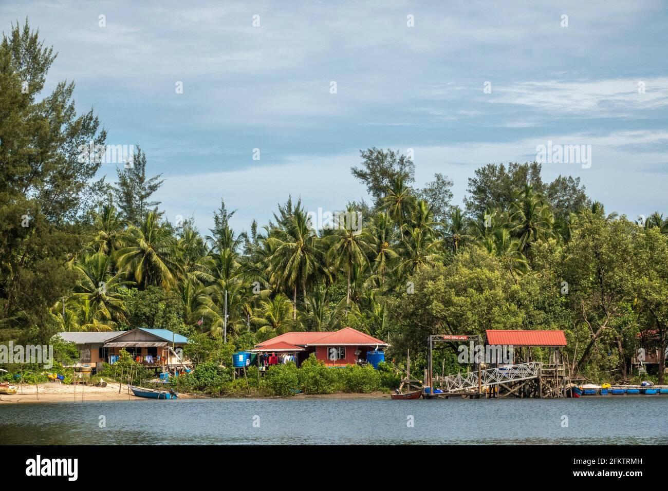 Croisière le long de la rive aérienne de Sibu Laut-Telaga, Matang, Sarawak, Malaisie Banque D'Images