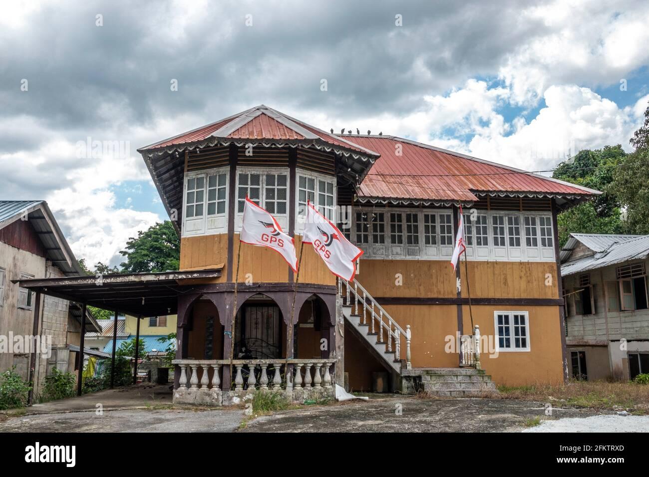 Ancienne maison de bungalow en bois à Buso, Bau, Sarawak, Malaisie orientale Banque D'Images