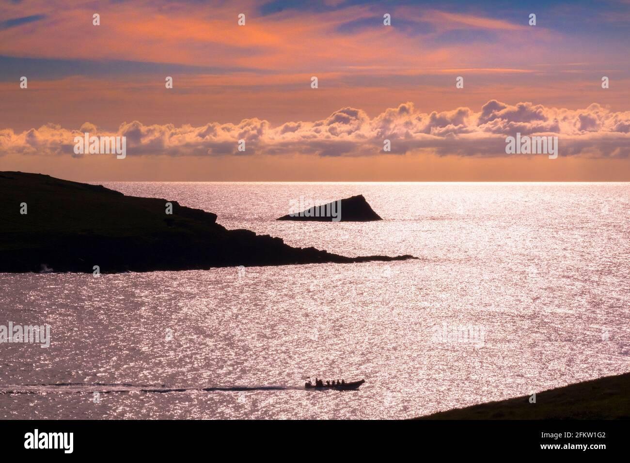 Un bateau à moteur touristique naviguant au-delà de Pentire point West et Le Chick une île rocheuse inhabitée silhouettée par un coloré Coucher de soleil à Newquay à Cornwal Banque D'Images