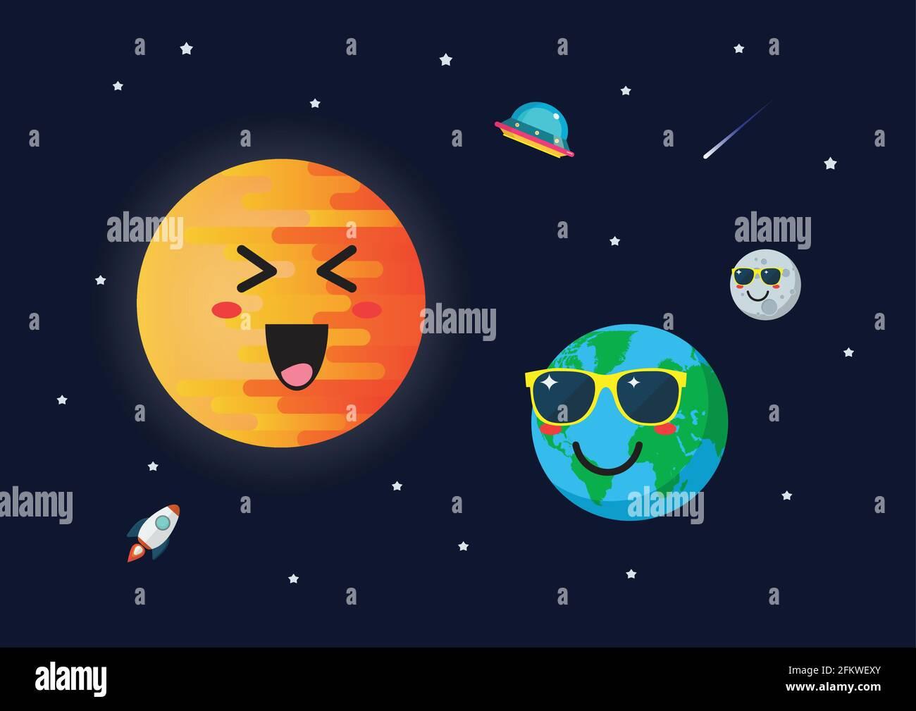 Planète terre porte des lunettes de soleil contre le caractère du soleil. Émoticônes humoristiques sur fond d'espace. Illustration de Vecteur