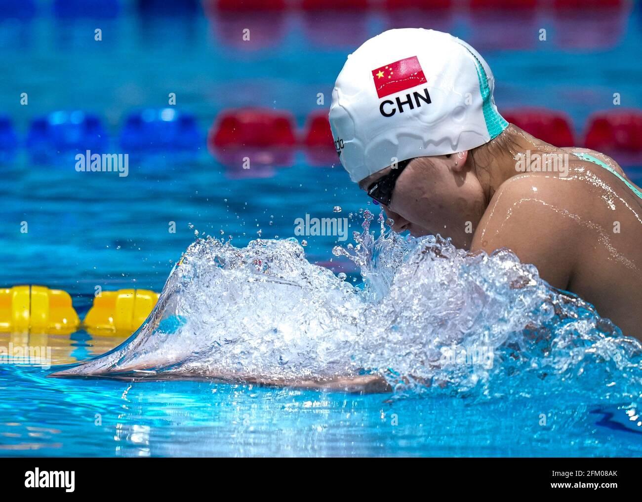Qingdao, Chine. 5 mai 2021. Yu Jingyao, de Beijing, est en compétition pendant la demi-finale féminine de 200 m de brasse aux Championnats nationaux chinois de natation 2021 à Qingdao, en Chine orientale, le 5 mai 2021. Credit: Xu Chang/Xinhua/Alay Live News Banque D'Images