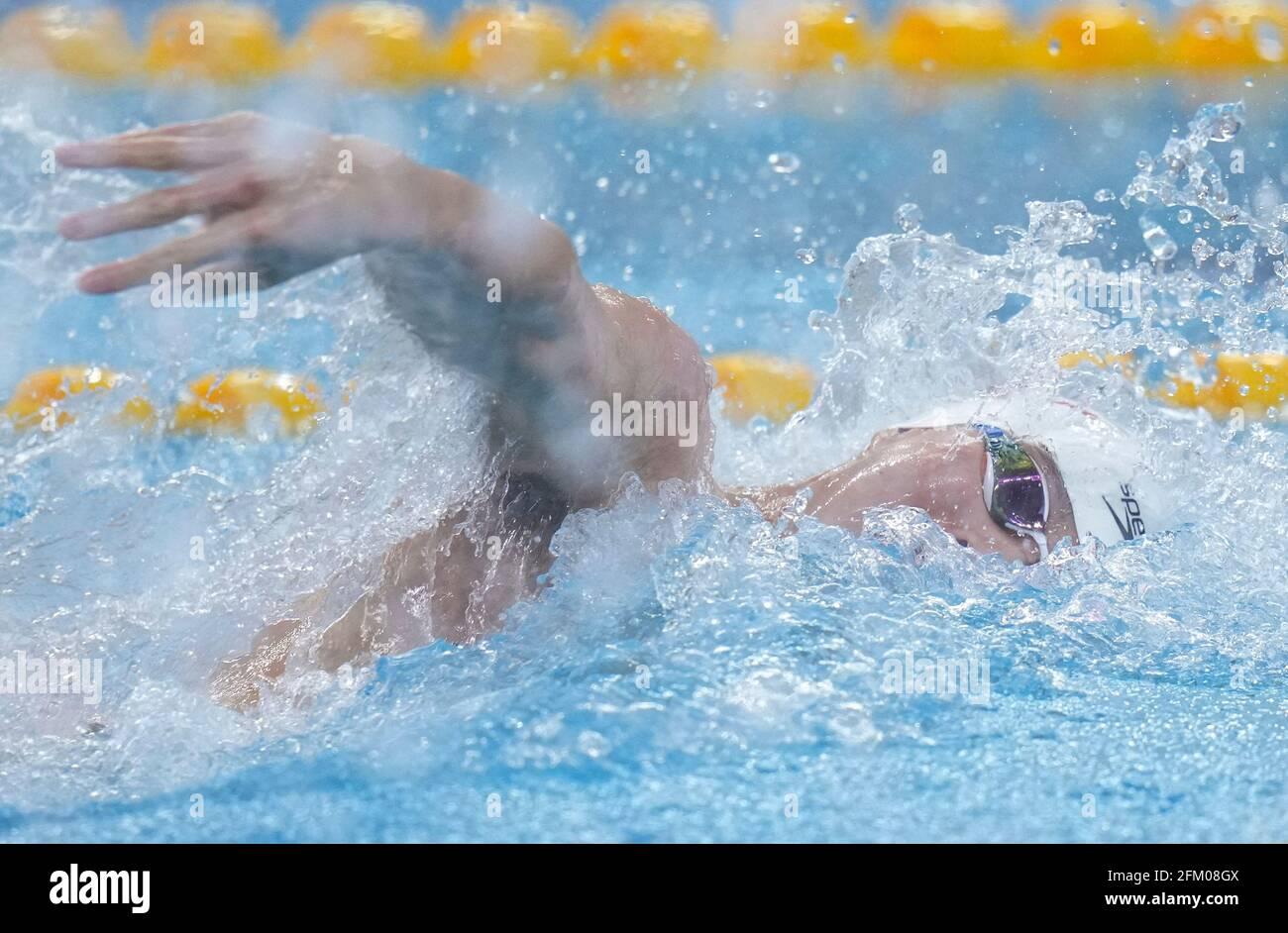 Qingdao, Chine. 5 mai 2021. Il Junyi, de Zhejiang, participe à la finale freestyle de 100m masculin aux Championnats nationaux chinois de natation 2021 à Qingdao, en Chine orientale, le 5 mai 2021. Credit: Xu Chang/Xinhua/Alay Live News Banque D'Images