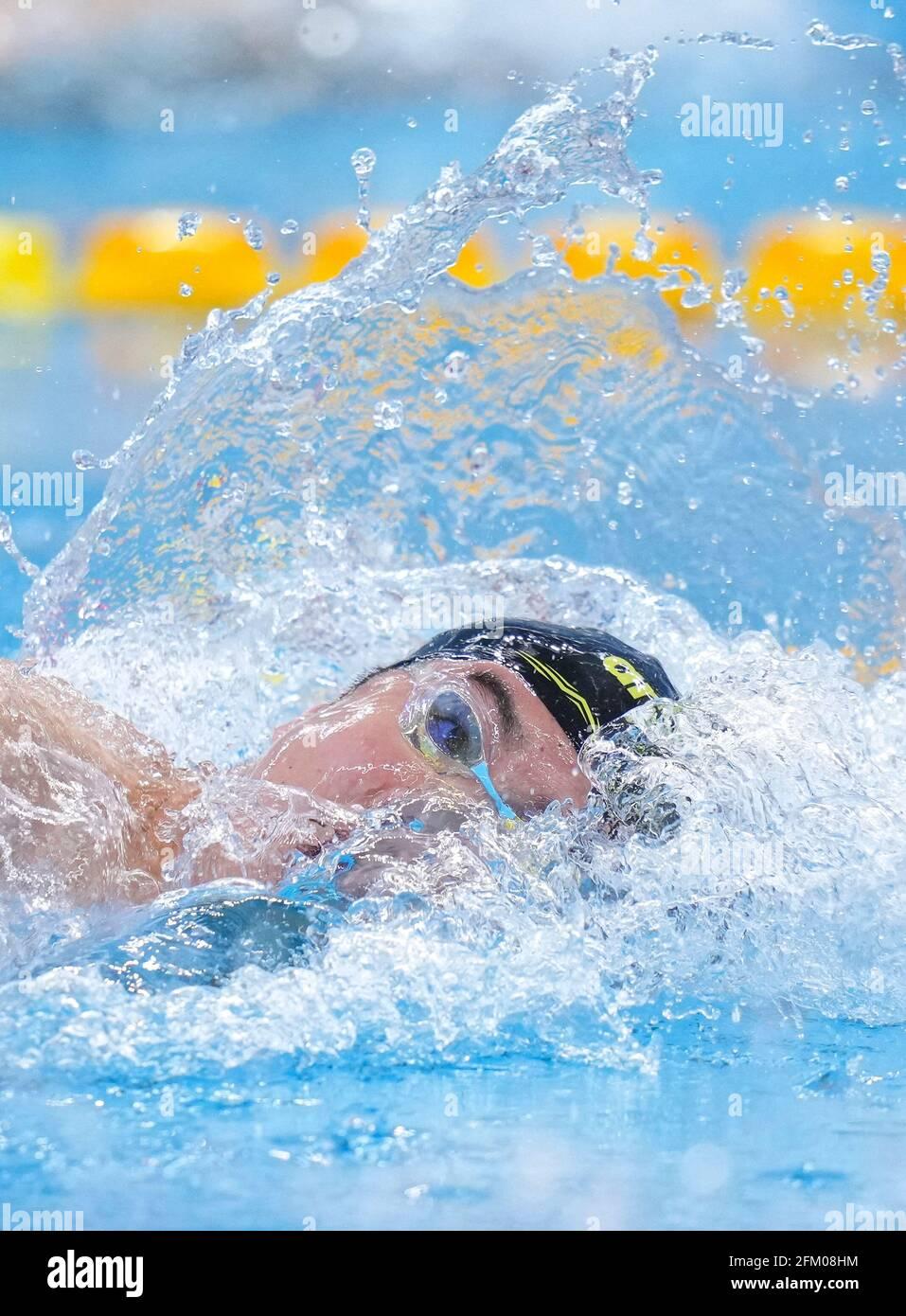 Qingdao, Chine. 5 mai 2021. Cheng long de Shandong participe à la finale libre de 800 m masculin aux Championnats nationaux chinois de natation 2021 à Qingdao, en Chine orientale, le 5 mai 2021. Credit: Xu Chang/Xinhua/Alay Live News Banque D'Images