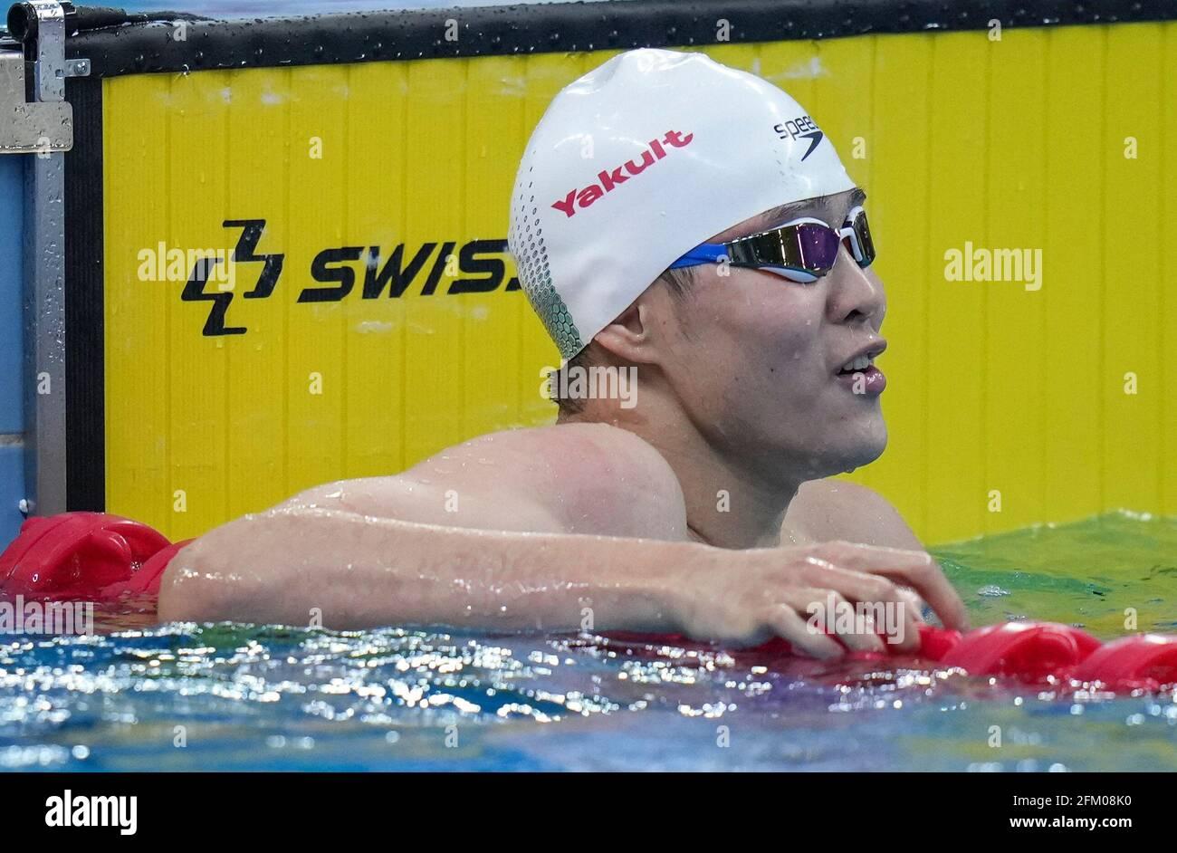 Qingdao, Chine. 5 mai 2021. Il Junyi, de Zhejiang, réagit après la finale libre de 100m des hommes aux Championnats nationaux de natation chinois 2021 à Qingdao, en Chine orientale, le 5 mai 2021. Credit: Xu Chang/Xinhua/Alay Live News Banque D'Images