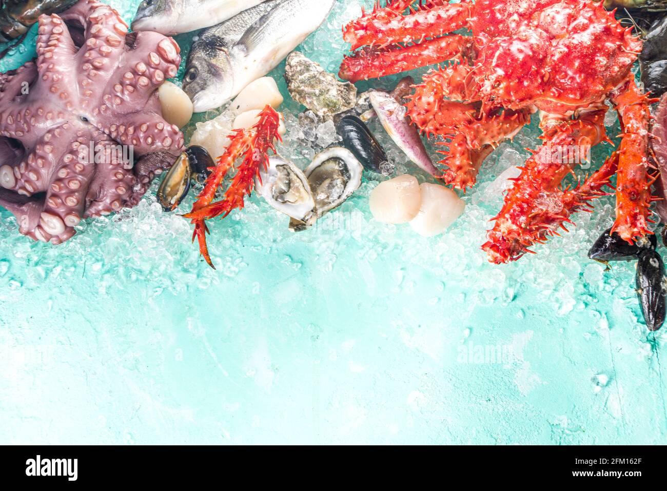 Ensemble de divers fruits de mer frais crus - pieuvre, crabe, calmar, crevettes, huître, moules, saumon thon dorada poisson avec épices d'herbes citron, bleu clair Banque D'Images